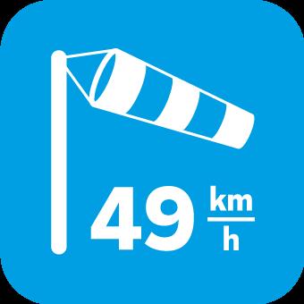 Windlast bis 49km/h